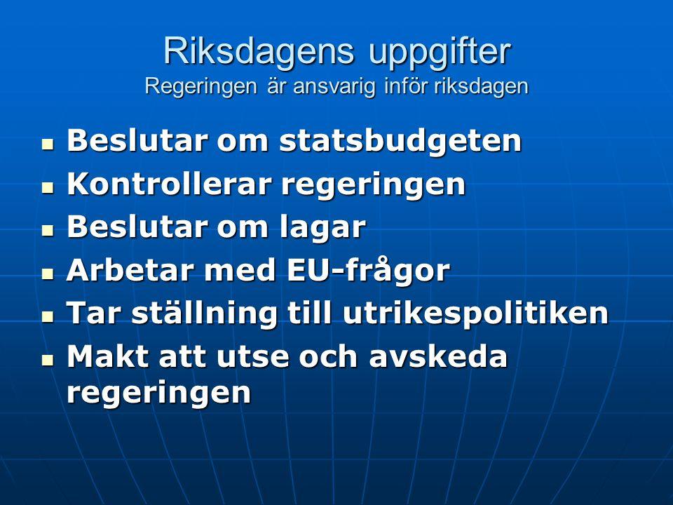 Riksdagens uppgifter Regeringen är ansvarig inför riksdagen  Beslutar om statsbudgeten  Kontrollerar regeringen  Beslutar om lagar  Arbetar med EU