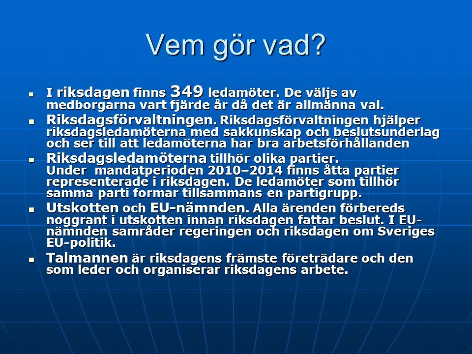 Vem gör vad?  I riksdagen finns 349 ledamöter. De väljs av medborgarna vart fjärde år då det är allmänna val.  Riksdagsförvaltningen. Riksdagsförval