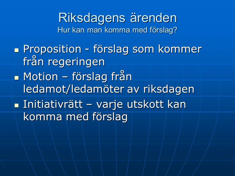 Riksdagens ärenden Hur kan man komma med förslag?  Proposition - förslag som kommer från regeringen  Motion – förslag från ledamot/ledamöter av riks