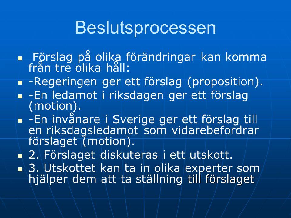 Beslutsprocessen   Förslag på olika förändringar kan komma från tre olika håll:   -Regeringen ger ett förslag (proposition).   -En ledamot i rik