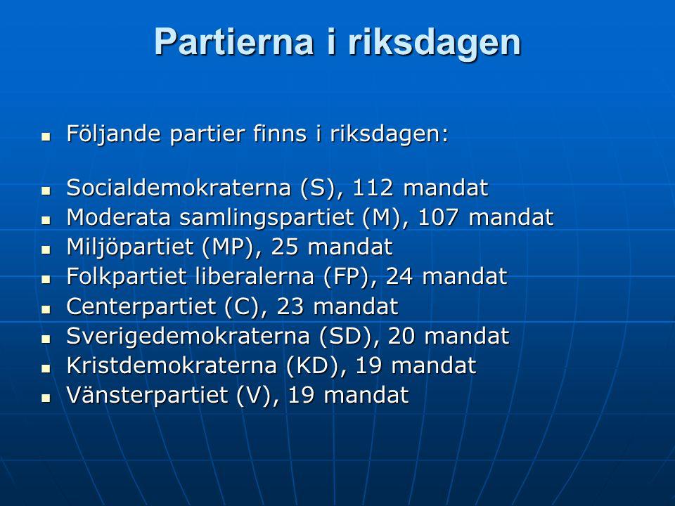 Partierna i riksdagen  Följande partier finns i riksdagen:  Socialdemokraterna (S), 112 mandat  Moderata samlingspartiet (M), 107 mandat  Miljöpar
