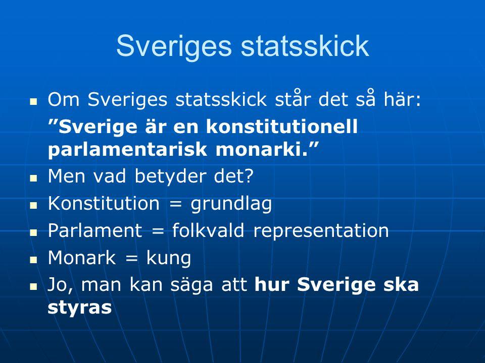 """Sveriges statsskick   Om Sveriges statsskick står det så här: """"Sverige är en konstitutionell parlamentarisk monarki.""""   Men vad betyder det?   K"""