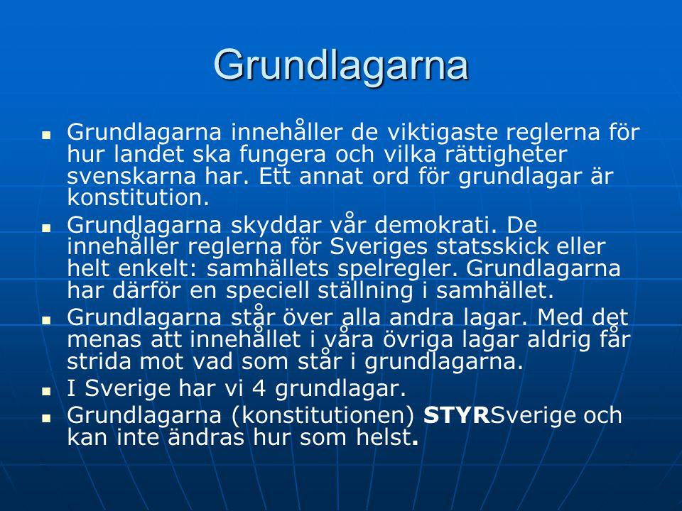 Grundlagarna GGrundlagarna innehåller de viktigaste reglerna för hur landet ska fungera och vilka rättigheter svenskarna har. Ett annat ord för gr