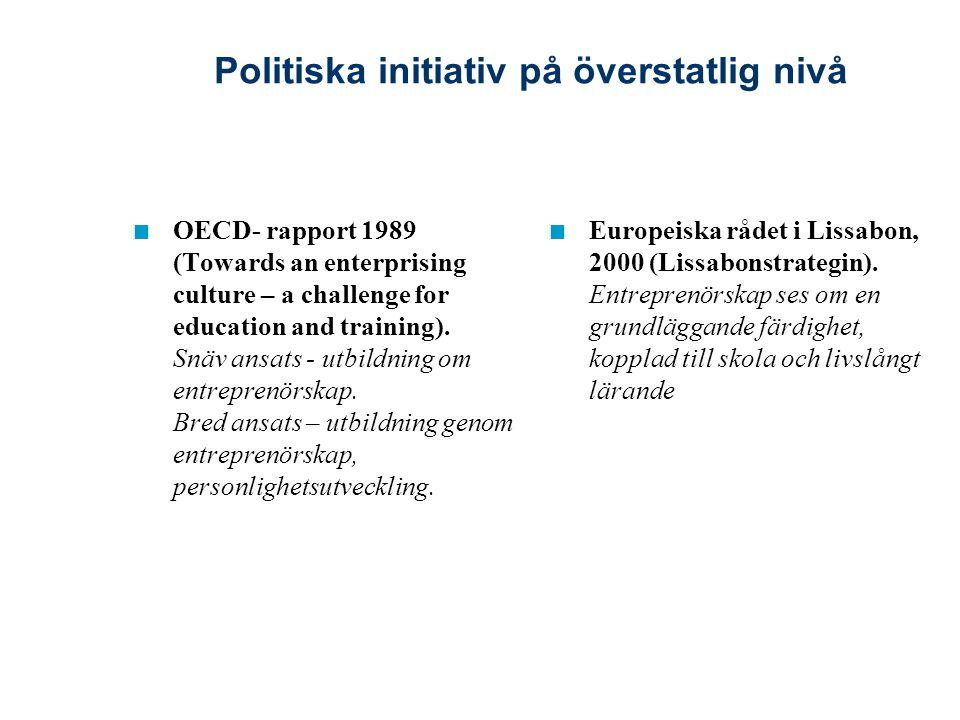 I propositionen 1995/96:222, Vissa åtgärder för att halvera arbetslösheten till år 2000, framskrivs attitydernas avgörande roll för företagsamhet och entreprenörskap och enligt propositionen måste grunden för entreprenörskap läggas i skolan.