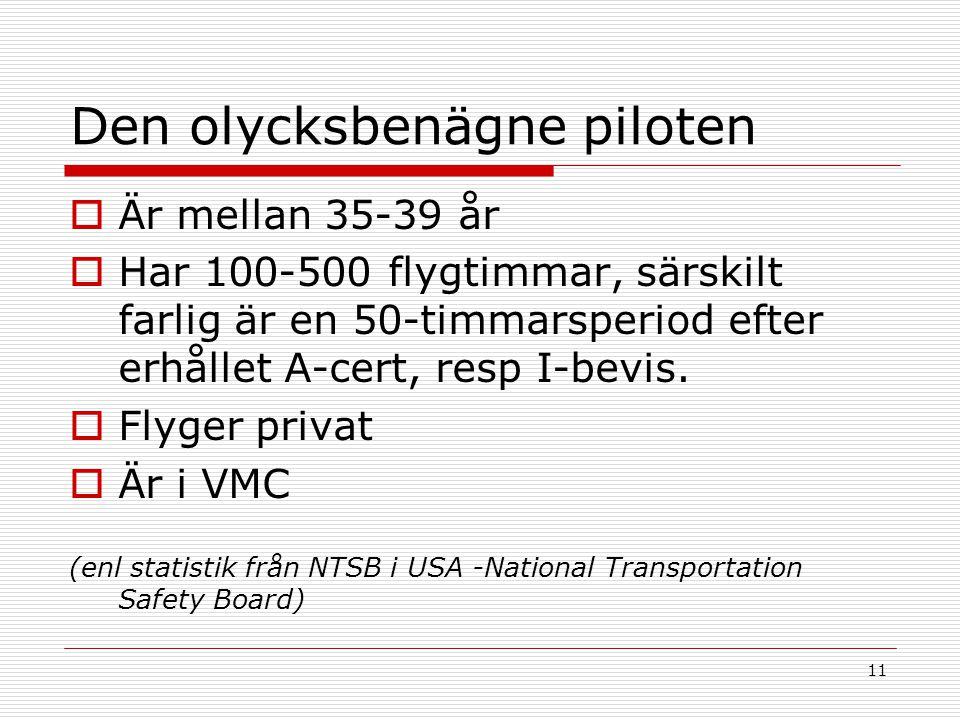 11 Den olycksbenägne piloten  Är mellan 35-39 år  Har 100-500 flygtimmar, särskilt farlig är en 50-timmarsperiod efter erhållet A-cert, resp I-bevis