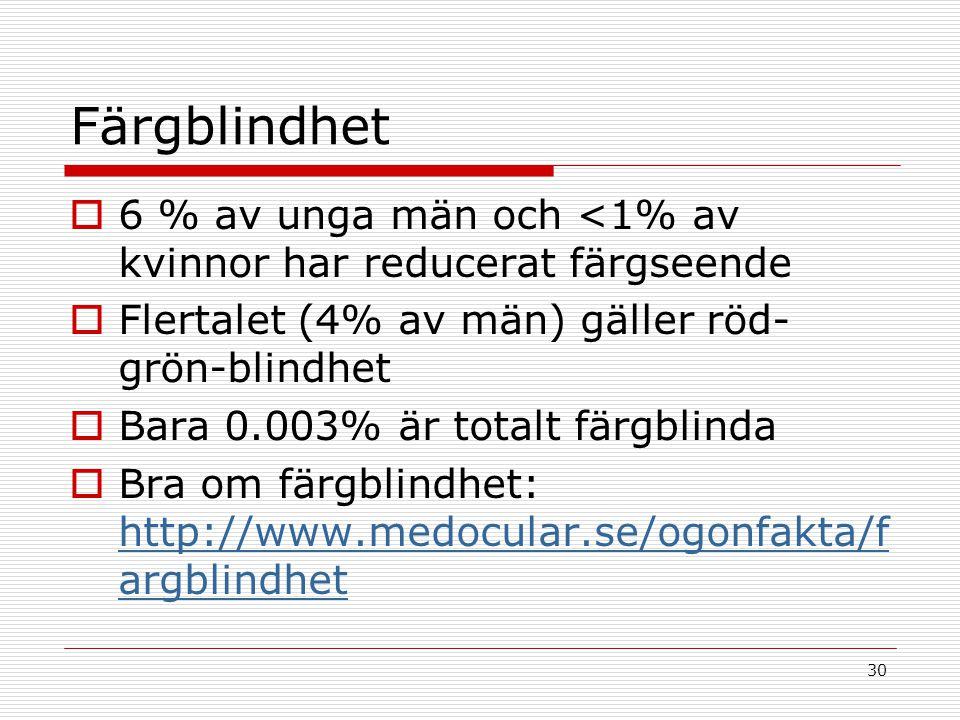 30 Färgblindhet  6 % av unga män och <1% av kvinnor har reducerat färgseende  Flertalet (4% av män) gäller röd- grön-blindhet  Bara 0.003% är total