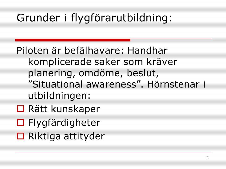 """4 Grunder i flygförarutbildning: Piloten är befälhavare: Handhar komplicerade saker som kräver planering, omdöme, beslut, """"Situational awareness"""". Hör"""