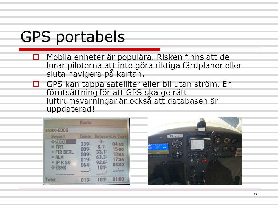 9 GPS portabels  Mobila enheter är populära. Risken finns att de lurar piloterna att inte göra riktiga färdplaner eller sluta navigera på kartan.  G