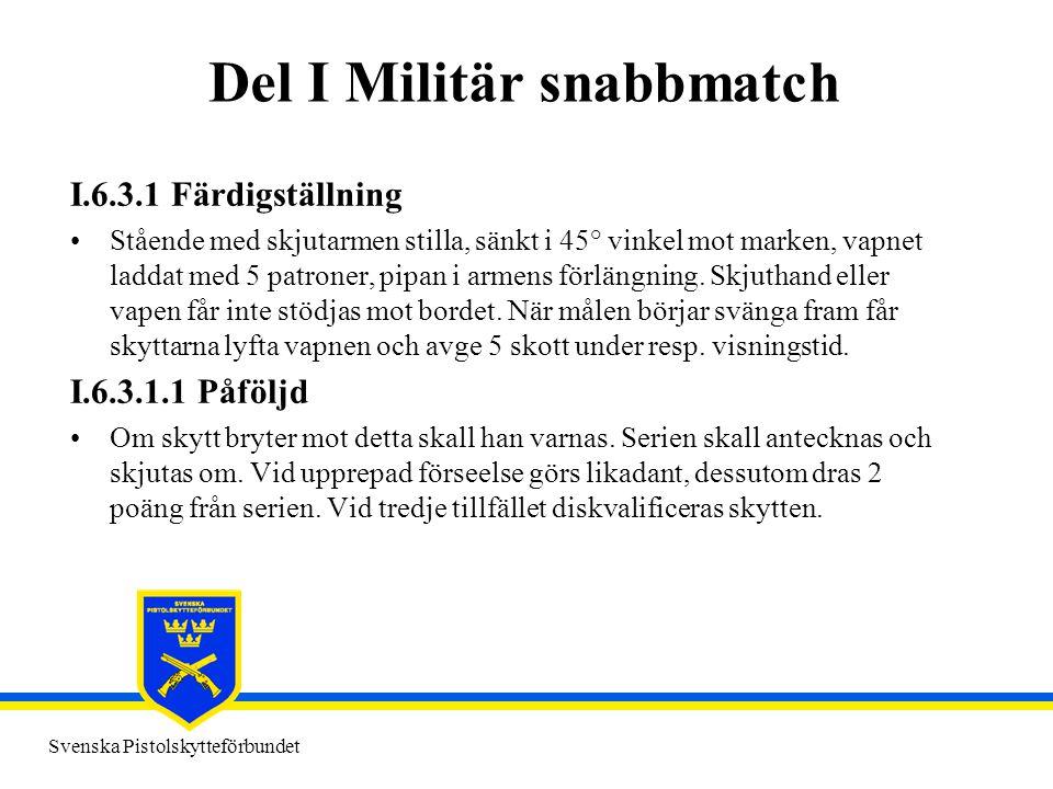 Svenska Pistolskytteförbundet Del I Militär snabbmatch I.6.3.1 Färdigställning •Stående med skjutarmen stilla, sänkt i 45° vinkel mot marken, vapnet l