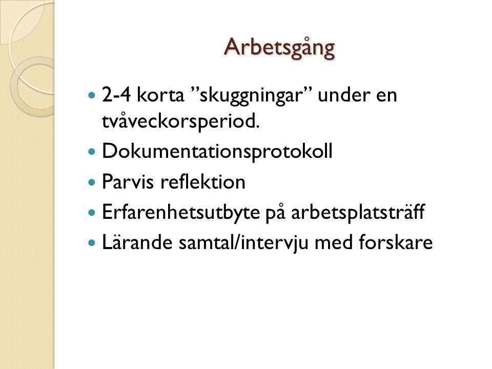 Arbetsgång  2-4 korta skuggningar under en tvåveckorsperiod.