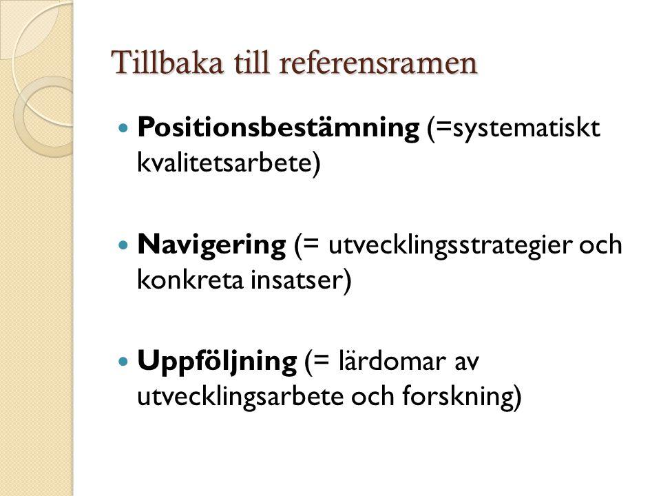 Tillbaka till referensramen  Positionsbestämning (=systematiskt kvalitetsarbete)  Navigering (= utvecklingsstrategier och konkreta insatser)  Uppföljning (= lärdomar av utvecklingsarbete och forskning)