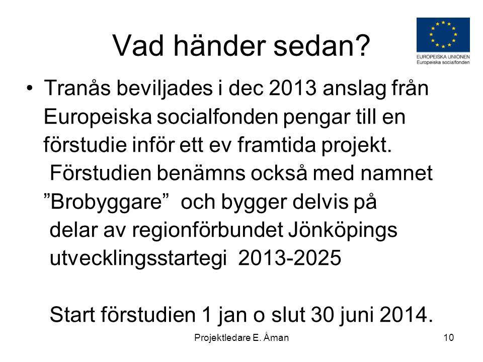 Vad händer sedan? •Tranås beviljades i dec 2013 anslag från Europeiska socialfonden pengar till en förstudie inför ett ev framtida projekt. Förstudien