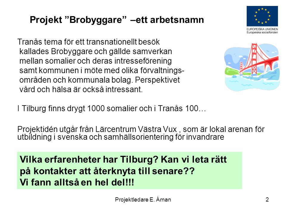 """Projekt """"Brobyggare"""" –ett arbetsnamn Tranås tema för ett transnationellt besök kallades Brobyggare och gällde samverkan mellan somalier och deras intr"""