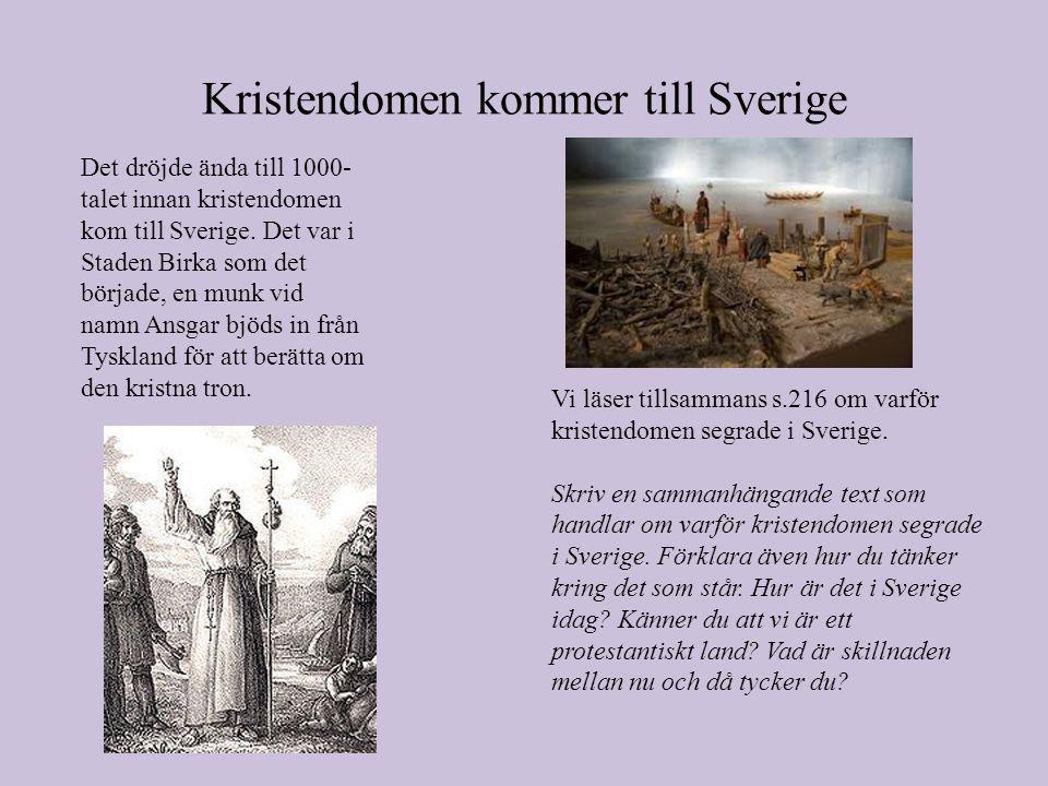 Kristendomen kommer till Sverige Det dröjde ända till 1000- talet innan kristendomen kom till Sverige.