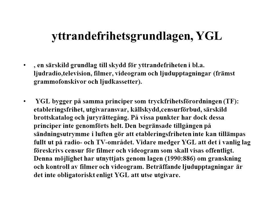 yttrandefrihetsgrundlagen, YGL •, en särskild grundlag till skydd för yttrandefriheten i bl.a. ljudradio,television, filmer, videogram och ljudupptagn