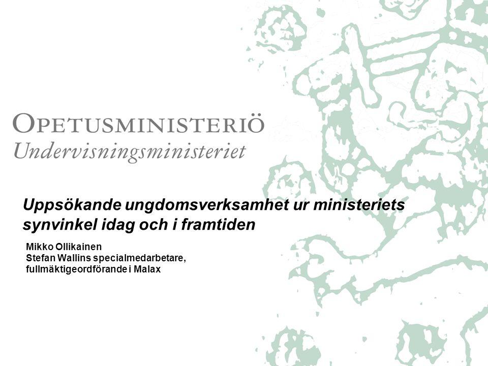 Ungdomsarbete överlag i Finland •Generellt; finns en stark politiskt vilja över ministeriegränserna att stöda ungdomsarbetet (politikprogrammet) – ungdomsarbete ändrats massor, (nätet, brist på ungdomsledare) •Största delen av ungdomarna i Finland mår bra •Sociala och andliga marginaliseringen ökat bland barn och ungdomar •Ungdomsarbetslösheten rekordhög, över 20 procentenheter, i februari 34991 unga under 25 år arbetslösa, i april 30829 unga.