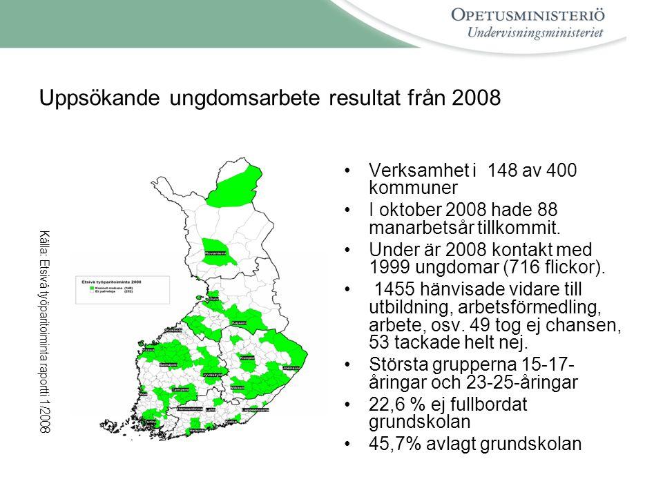 Uppsökande ungdomsarbete resultat från 2008 •Verksamhet i 148 av 400 kommuner •I oktober 2008 hade 88 manarbetsår tillkommit.