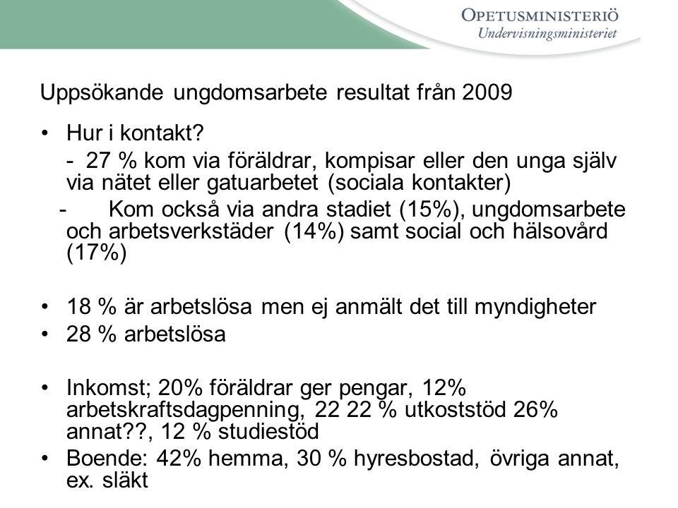 Uppsökande ungdomsarbete resultat från 2009 •Hur i kontakt.
