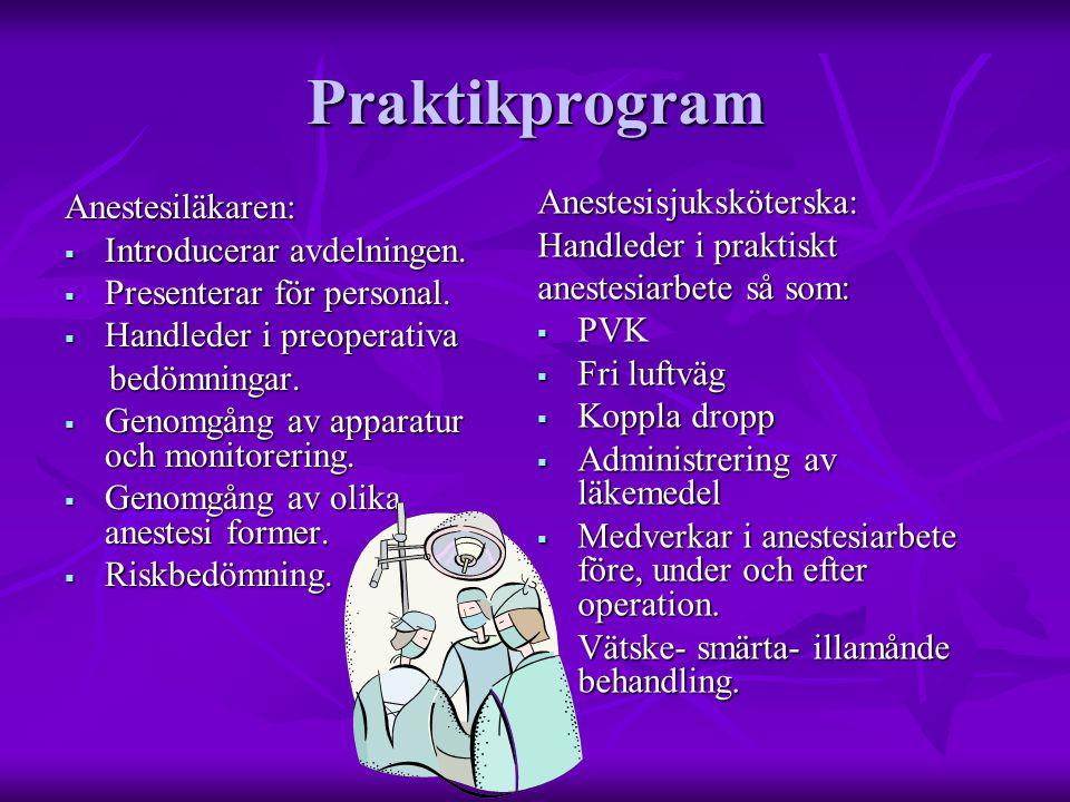 Praktikprogram Anestesiläkaren:  Introducerar avdelningen.  Presenterar för personal.  Handleder i preoperativa bedömningar. bedömningar.  Genomgå