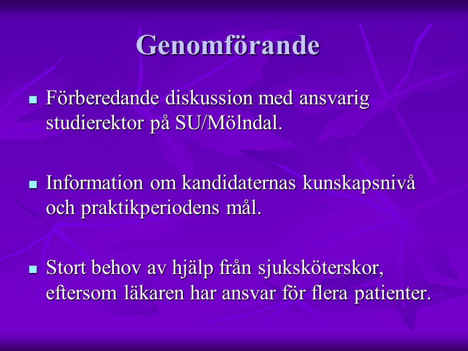 Genomförande  Förberedande diskussion med ansvarig studierektor på SU/Mölndal.  Information om kandidaternas kunskapsnivå och praktikperiodens mål.