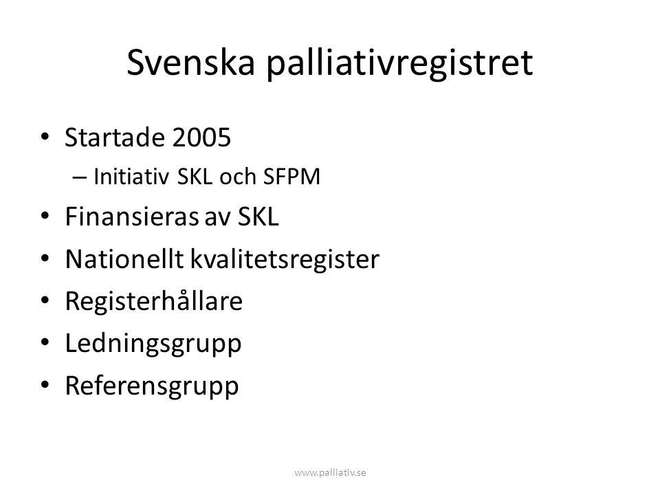 Svenska palliativregistret • Startade 2005 – Initiativ SKL och SFPM • Finansieras av SKL • Nationellt kvalitetsregister • Registerhållare • Ledningsgr