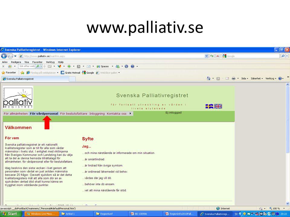 Anmäl enheten www.palliativ.se