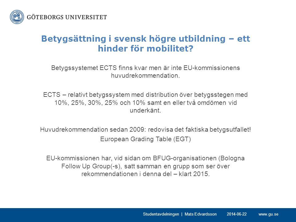 www.gu.se Betygsättning i svensk högre utbildning – ett hinder för mobilitet? Betygssystemet ECTS finns kvar men är inte EU-kommissionens huvudrekomme