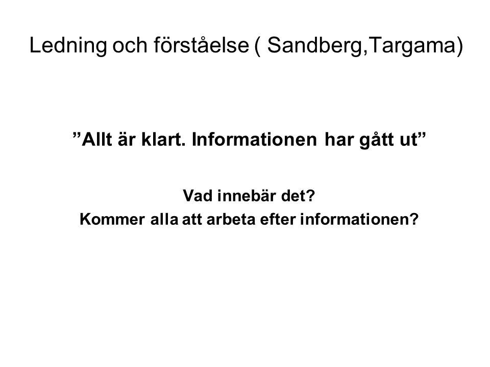 """Ledning och förståelse ( Sandberg,Targama) """"Allt är klart. Informationen har gått ut"""" Vad innebär det? Kommer alla att arbeta efter informationen?"""