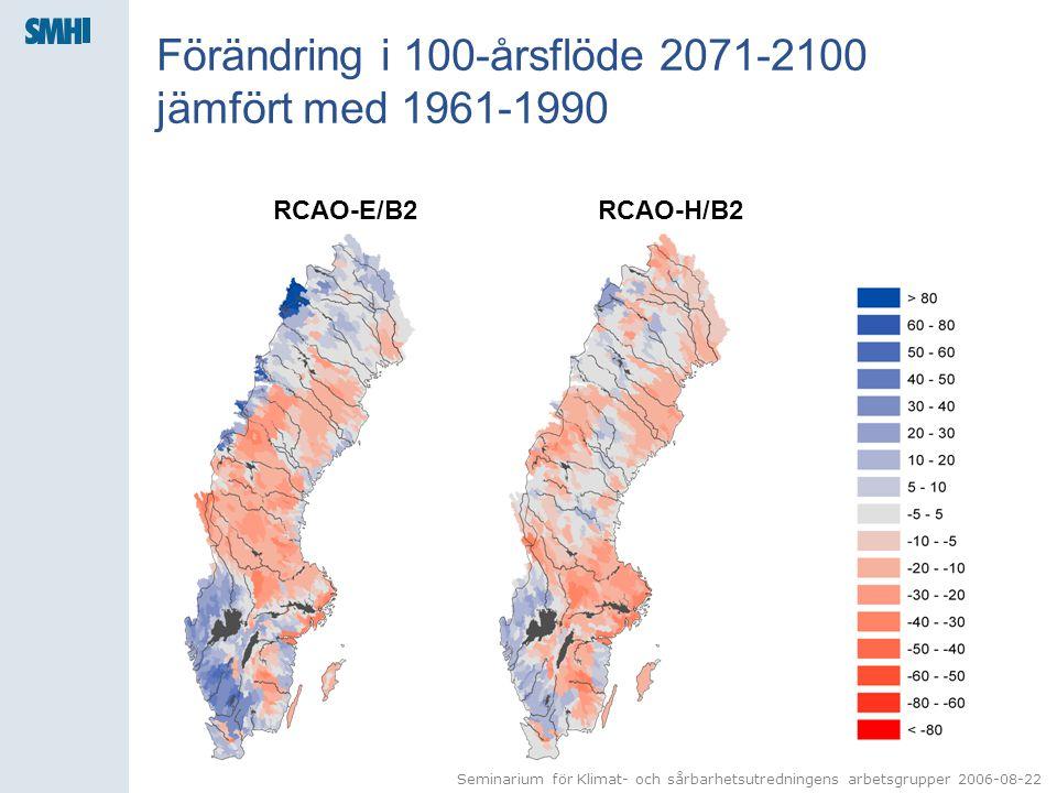 Seminarium för Klimat- och sårbarhetsutredningens arbetsgrupper 2006-08-22 Förändring i 100-årsflöde 2071-2100 jämfört med 1961-1990 RCAO-E/B2RCAO-H/B2