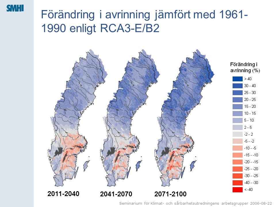 Seminarium för Klimat- och sårbarhetsutredningens arbetsgrupper 2006-08-22 Förändring i avrinning jämfört med 1961- 1990 enligt RCA3-E/B2 2011-2040 2041-20702071-2100