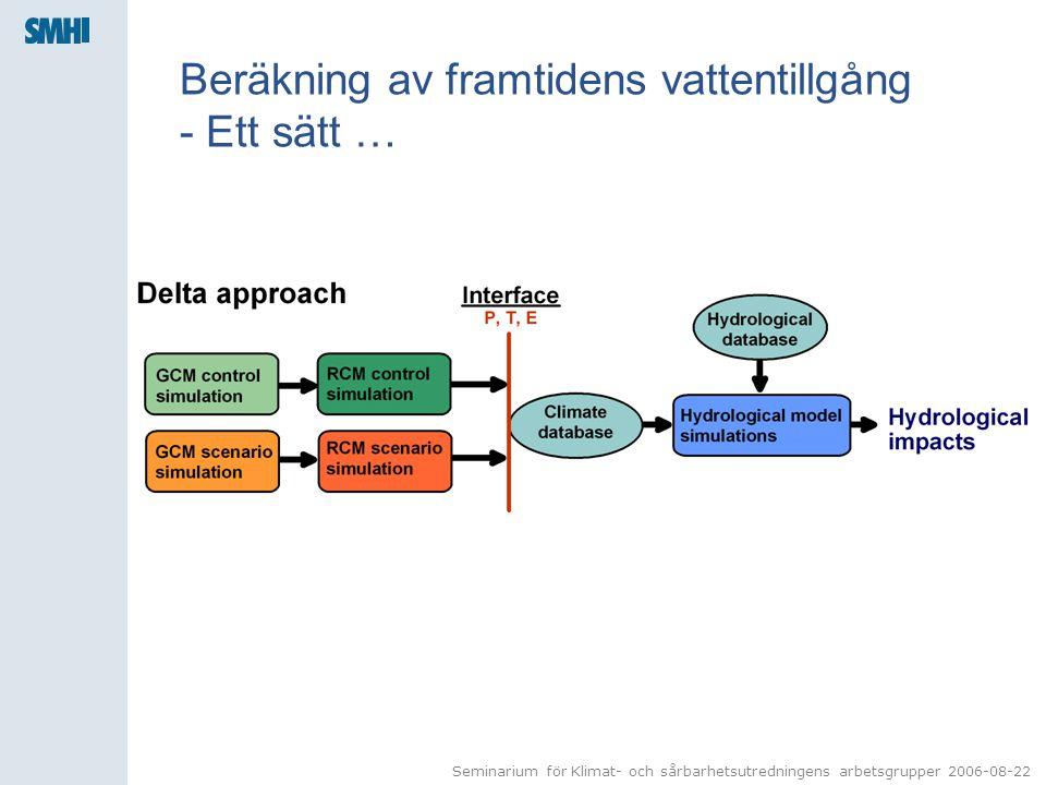 Seminarium för Klimat- och sårbarhetsutredningens arbetsgrupper 2006-08-22 Beräkning av framtidens vattentillgång - Ett sätt …