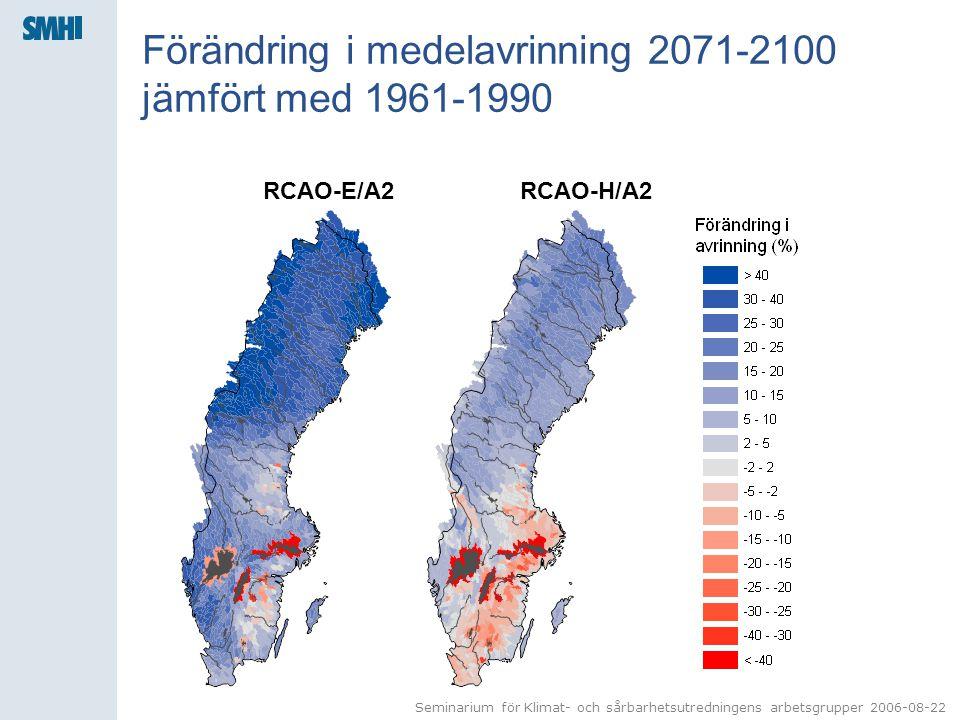 Seminarium för Klimat- och sårbarhetsutredningens arbetsgrupper 2006-08-22 Förändring i medelavrinning 2071-2100 jämfört med 1961-1990 RCAO-E/A2RCAO-H