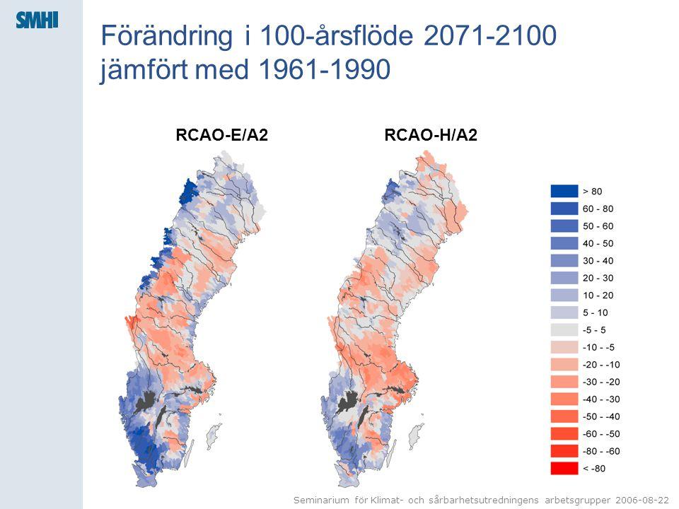 Seminarium för Klimat- och sårbarhetsutredningens arbetsgrupper 2006-08-22 Förändring i 100-årsflöde 2071-2100 jämfört med 1961-1990 RCAO-E/A2RCAO-H/A