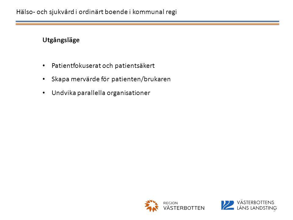 Hälso- och sjukvård i ordinärt boende i kommunal regi 5 Utgångsläge • Patientfokuserat och patientsäkert • Skapa mervärde för patienten/brukaren • Und
