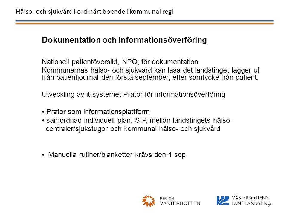 Hälso- och sjukvård i ordinärt boende i kommunal regi 9 Dokumentation och Informationsöverföring Nationell patientöversikt, NPÖ, för dokumentation Kom