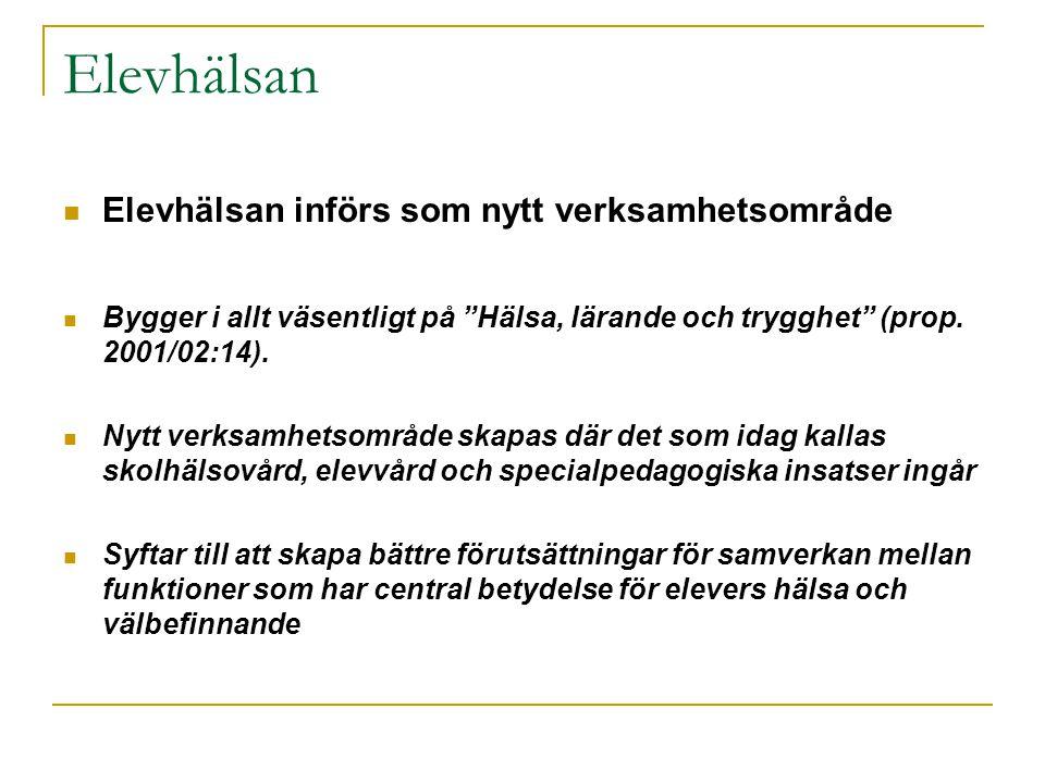 """Elevhälsan  Elevhälsan införs som nytt verksamhetsområde  Bygger i allt väsentligt på """"Hälsa, lärande och trygghet"""" (prop. 2001/02:14).  Nytt verks"""