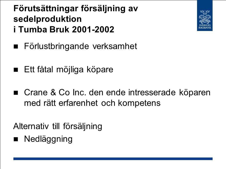 Förutsättningar försäljning av sedelproduktion i Tumba Bruk 2001-2002  Förlustbringande verksamhet  Ett fåtal möjliga köpare  Crane & Co Inc.