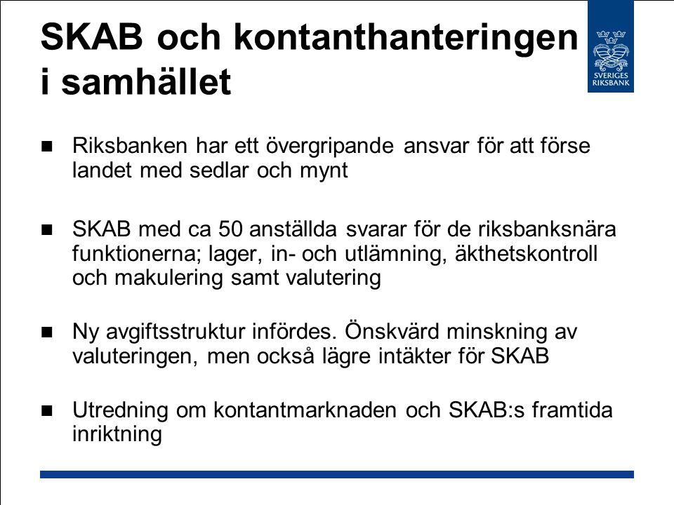 SKAB och kontanthanteringen i samhället  Riksbanken har ett övergripande ansvar för att förse landet med sedlar och mynt  SKAB med ca 50 anställda svarar för de riksbanksnära funktionerna; lager, in- och utlämning, äkthetskontroll och makulering samt valutering  Ny avgiftsstruktur infördes.