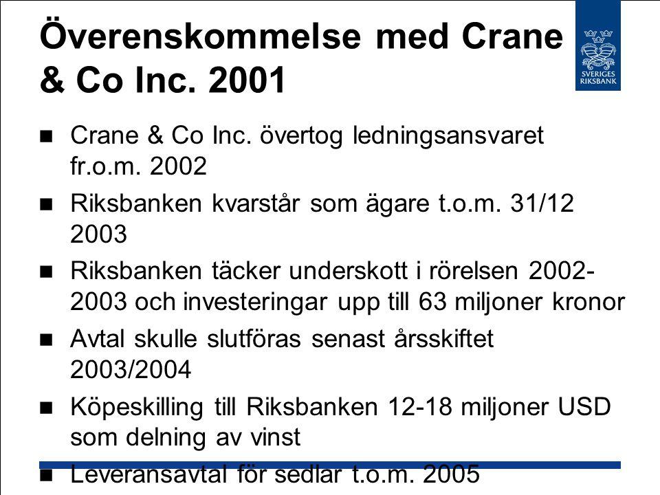 Överenskommelse med Crane & Co Inc.2001  Crane & Co Inc.