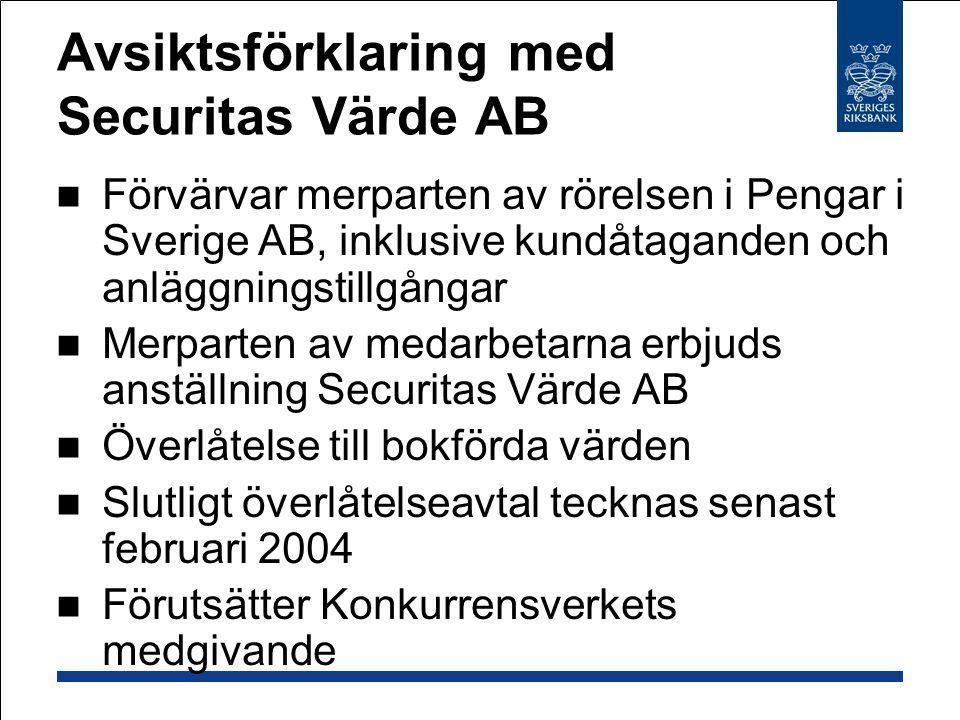 Avsiktsförklaring med Securitas Värde AB  Förvärvar merparten av rörelsen i Pengar i Sverige AB, inklusive kundåtaganden och anläggningstillgångar  Merparten av medarbetarna erbjuds anställning Securitas Värde AB  Överlåtelse till bokförda värden  Slutligt överlåtelseavtal tecknas senast februari 2004  Förutsätter Konkurrensverkets medgivande