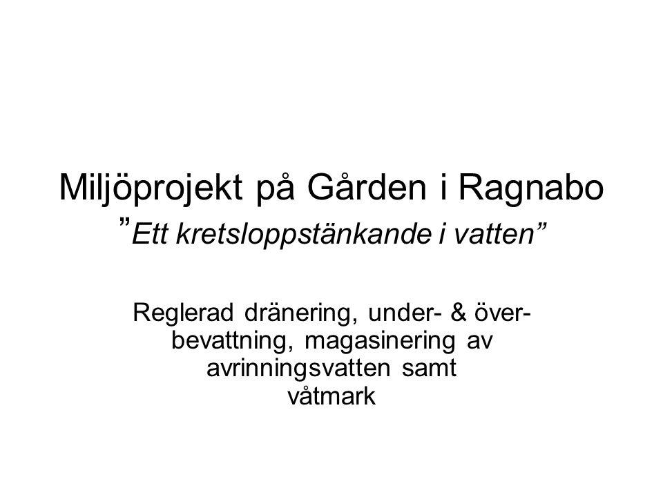 """Miljöprojekt på Gården i Ragnabo """" Ett kretsloppstänkande i vatten"""" Reglerad dränering, under- & över- bevattning, magasinering av avrinningsvatten sa"""