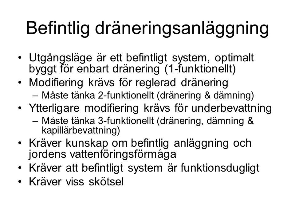 •Utgångsläge är ett befintligt system, optimalt byggt för enbart dränering (1-funktionellt) •Modifiering krävs för reglerad dränering –Måste tänka 2-f
