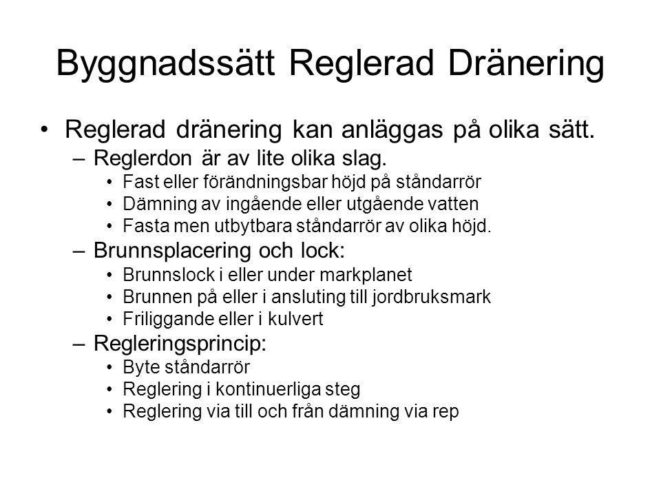Byggnadssätt Reglerad Dränering •Reglerad dränering kan anläggas på olika sätt. –Reglerdon är av lite olika slag. •Fast eller förändningsbar höjd på s