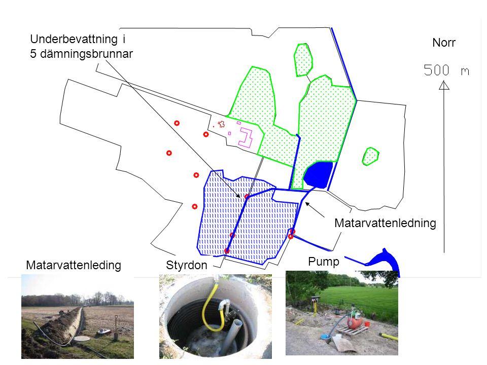 Konventionell bevattnings- anläggning med 8 hydranter StamledningHydrantBevattningsmaskin Norr
