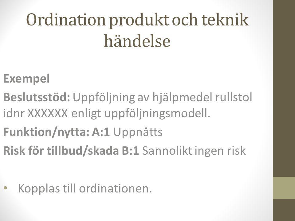 Ordination produkt och teknik händelse Exempel Beslutsstöd: Uppföljning av hjälpmedel rullstol idnr XXXXXX enligt uppföljningsmodell. Funktion/nytta: