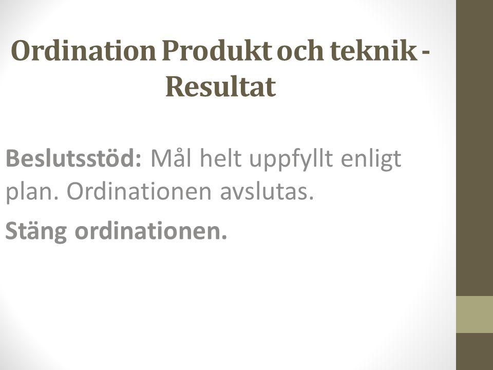 Ordination Produkt och teknik - Resultat Beslutsstöd: Mål helt uppfyllt enligt plan. Ordinationen avslutas. Stäng ordinationen.