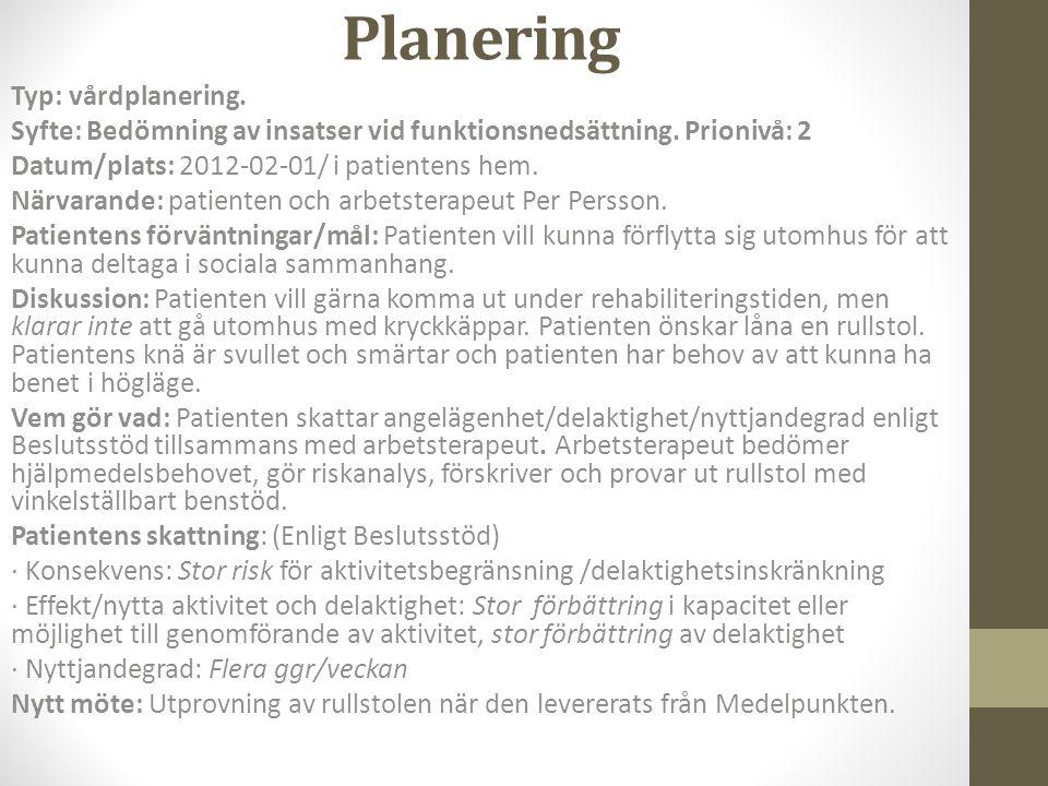 Planering Typ: vårdplanering. Syfte: Bedömning av insatser vid funktionsnedsättning. Prionivå: 2 Datum/plats: 2012-02-01/ i patientens hem. Närvarande