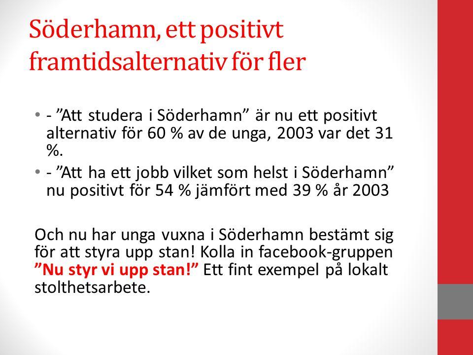 """Söderhamn, ett positivt framtidsalternativ för fler • - """"Att studera i Söderhamn"""" är nu ett positivt alternativ för 60 % av de unga, 2003 var det 31 %"""