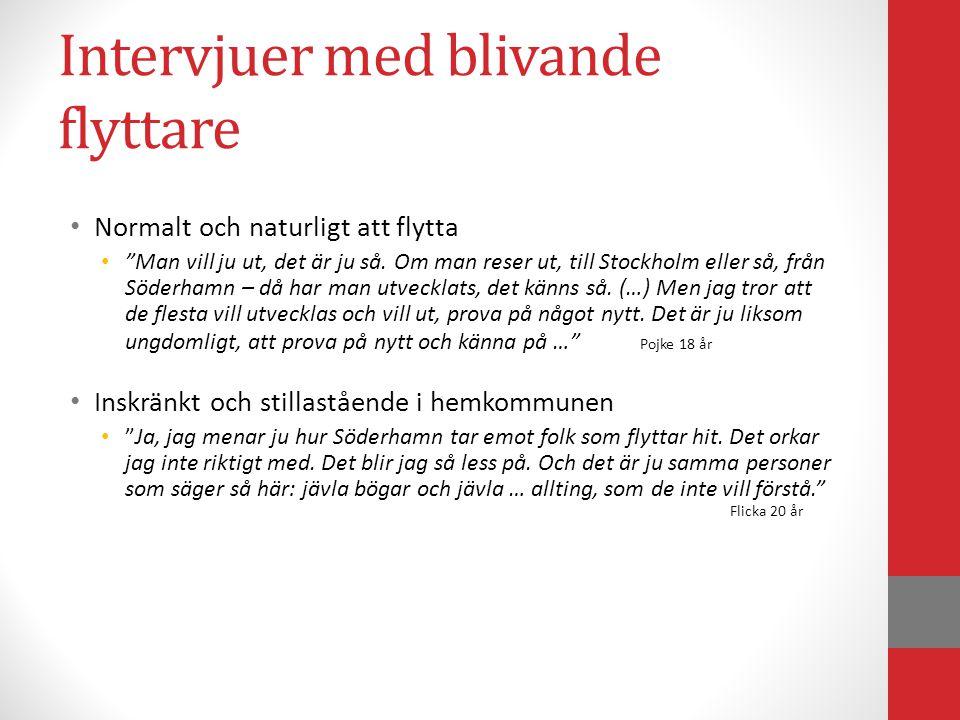 Intervjuer med blivande stannare • Allt man behöver finns i hemkommunen • Men vad finns det i Stockholm som inte finns här – bara en massa folk?! (Pojke 17 år) • Det är lagom och nära, och man är någon • Det är inte för stort och inte för litet, och man känner många.