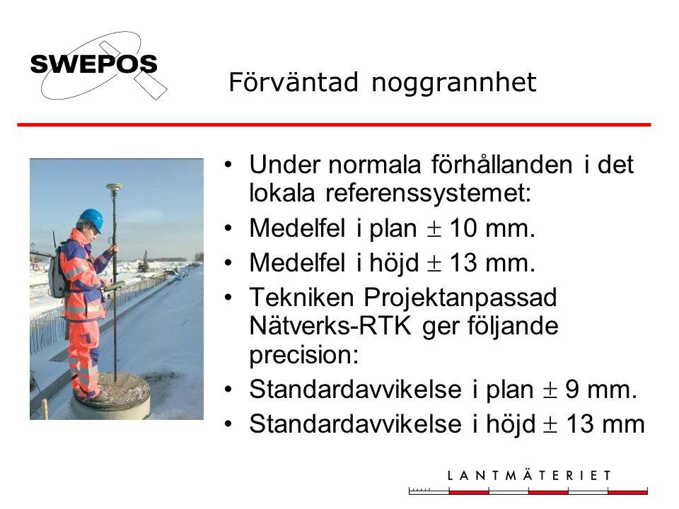 Förväntad noggrannhet •Under normala förhållanden i det lokala referenssystemet: •Medelfel i plan  10 mm.
